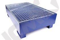 Blå stål kar m/galv. rist, 2 tromler