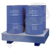 Blå stål kar m/galv. rist, 4 tromler