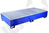 Blå stål kar m/galv. rist, 4 tromler, lang model