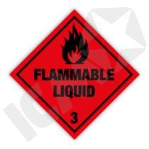 132258 Flammable liquid kl. 3 fareseddel  100x100mm