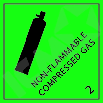 132256 Non-Flammble gas kl. 2 fareseddel  100x100mm